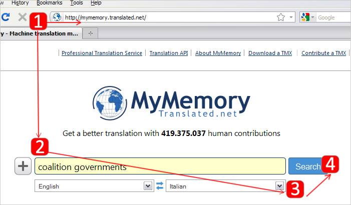 mymemory look up terms and segments from mymemory web interface
